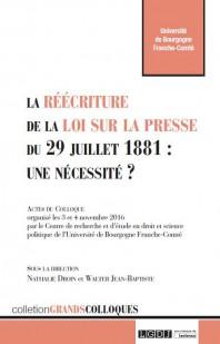 la reecriture de la loi sur la presse du 29 juillet 1881 une necessite 9782275057439
